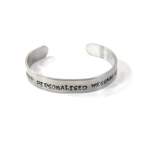 Personalised Hand Stamped Bracelet Bangle – Hand Stamped Bangle – Free P&P